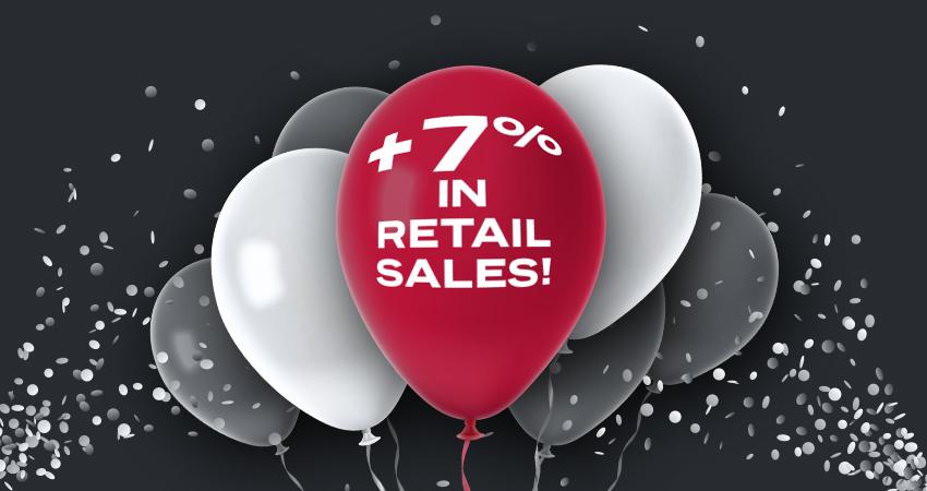 Coachman 7% retail growth balloon banner